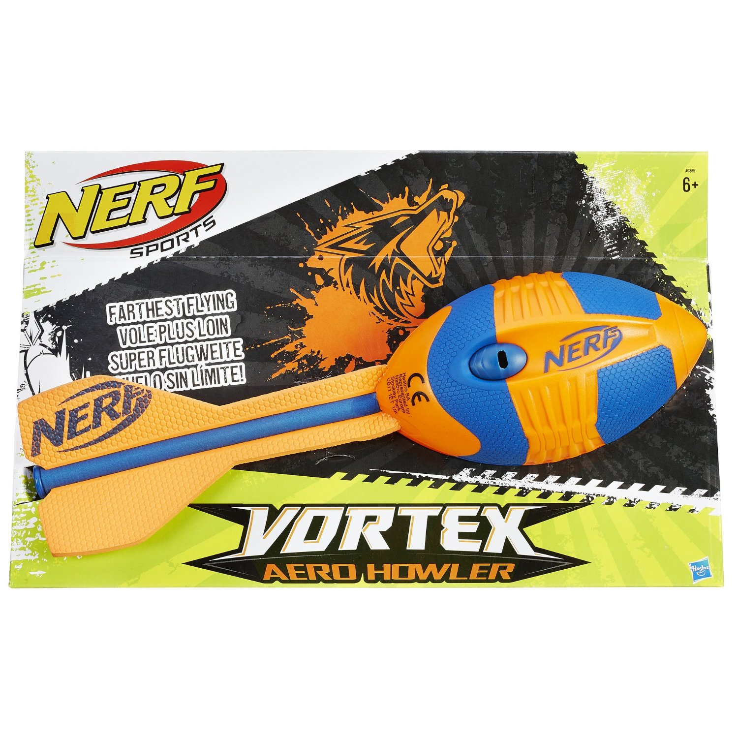 NERF Sports Vortex AERO HOWLER Flying Football Whistling Football